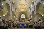 Christmas in Bethlehem, the Latin Patriarch of Jerusalem Fouad Twal in St. Catherine Church