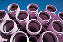 Close-up of recycled/reclaimed water pipes. Purple is the designated color of reclaimed water pipes. The cities of Palo Alto and Mountain View are jointly constructing a reclaimed water pipeline to carry recycled water from the Palo Alto Regional Water Quality Control Plant to customers along East Bayshore Parkway and Mountain View's North Bayshore area.