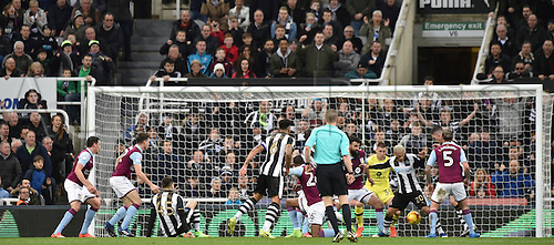 February 20th 2017, St James Park, Newcastle, England; Skybet Championship football, Newcastle versus Aston Villa; Yoan Gouffran of Newcastle United scores