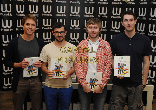 Joe Thomas, Simon Bird, James Buckley and Blake Harrison.Stars from the E4 award-winning comedy series, , sign copies of 'The Inbetweeners Yearbook', Waterstones Piccadilly, London, England..29th September 2011.half length black blue jacket top grey gray jeans denim trousers check shirt beard facial hair glasses.CAP/WIZ.© Wizard/Capital Pictures.