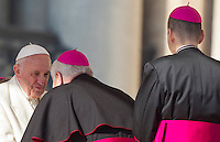 Papa Francesco saluta alcuni vescovi al termine dell'udienza generale del mercoledi' in Piazza San Pietro, Citta' del Vaticano, 11 novembre 2015.<br /> Pope Francis greets some bishops at the end of his weekly general audience in St. Peter's Square at the Vatican, 11 November 2015.<br /> UPDATE IMAGES PRESS/Riccardo De Luca<br /> <br /> STRICTLY ONLY FOR EDITORIAL USE