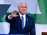 Washington, DC - January 27, 2017: Vice President Mike Pence waves to the crowd gathered on the National Mall for the annual March for Life Rally in the District of Columbia, January 27, 2017. Pence is the highest ranking government official to ever address the pro-life rally.  (Photo by Don Baxter/Media Images International)