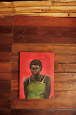 BELIZE, Hopkins, detail of a painting hanging on the wall of a Cabana at the Lebeha Drumming Center