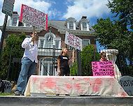 August 12, 2011 (Washington, DC)  Madea Benjamin (center) and members of the group Code Pink protested in front of the Syrian Embassy in Washington on August 12, 2011.  The group was protesting what they consider Syria's human rights violations against its own people.  (Photo: Media Images International)