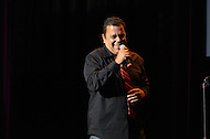 "September 13, 2011 (Washington, DC)  Comdeian Mike Robles on stage at the Warner Theater in Washington for the 11th Annual ""Reyes of Comedy"" presented by The Congressional Hispanic Caucus Institute (CHCI).   (Photo by Don Baxter/Media Images International)"