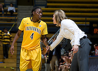 California head coach Lindsay Gottlieb talks with Eliza Pierre of California during the game against St. Mary's at Haas Pavilion in Berkeley, California on November 15th, 2012.  California defeated St. Mary's, 89-41.