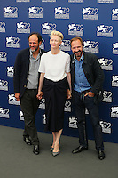 From left, Luca Guadagnino, Tilda Swinton and Ralph Fiennes attend a photocall for the movie 'A Bigger Splash' during the 72nd Venice Film Festival at the Palazzo Del Cinema in Venice, Italy, September 6, 2015. <br /> UPDATE IMAGES PRESS/Stephen Richie