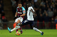 Davinson Sanchez of Tottenham and Javier Hernandez of West Ham United during Tottenham Hotspur vs West Ham United, Premier League Football at Wembley Stadium on 4th January 2018