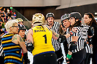 Richmond Wrecking Belles skated against the San Francisco ShEvil Dead in San Francisco, California on Saturday, April 26, 2014.