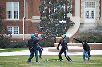 Snow Day on campus - students playing Spike Ball on Drill Field.<br />  (photo by Megan Bean / &copy; Mississippi State University)