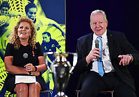 4th February 2020, Eden Park, Auckland, New Zealand;  Dame Julie Christie (RWC2021 Organising Committee Chair) and World Rugby Chairman Sir Bill Beaumont.<br /> RWC 2021 New Zealand Kick-Off event at Eden Park, Auckland, New Zealand on Tuesday 4th February 2020.