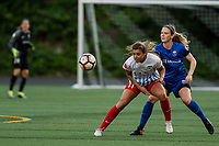 Seattle, WA - Wednesday, June 28, 2017: Sofia Huerta and Kristen McNabb during a regular season National Women's Soccer League (NWSL) match between the Seattle Reign FC and the Chicago Red Stars at Memorial Stadium.