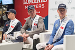 Press conference of Christian Ahlmann of Germany, winner of the Longines Grand Prix riding Caribis Z, with Ludger Beerbaum of Germany riding Casello being the first runner-up, Max Kuhner of Austria riding Cornet Kalua being the second runner-up, in the presence of Longines President Walter von Kanel, Hong Kong actor and singer Aaron Kwok, and EEM World President Christophe Ameeuw at the conclusion of the Longines Masters of Hong Kong on 12 February 2017 at the Asia World Expo in Hong Kong, China. Photo by Victor Fraile / Power Sport Images