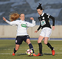 20170129 - LILLE , FRANCE : LOSC's Silke Demeyere (L) and Juvisy's Annaig Butel (R) pictured during women soccer game between the women teams of Lille OSC and FFC Juvisy Essonne  during the 1/16 final for the 2017 French Cup at stade Lille Metropole , Sunday 29th of January ,  PHOTO Dirk Vuylsteke | Sportpix.Be