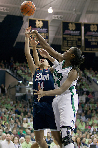 in action during NCAA Women's basketball game between Connecticut and Notre Dame.  The Notre Dame Fighting Irish defeated the Connecticut Huskies 74-67 in overtime in game at Purcell Pavilion at the Joyce Center in South Bend, Indiana.