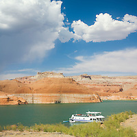 Houseboat camp on sandy shorline of Lake Powell