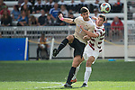 HOUSTON, TX - DECEMBER 11:  Jon Bakero (7) of Wake Forest University and Tomas Hilliard-Arce (4) of Stanford University compete for the ball during the Division I Men's Soccer Championship held at the BBVA Compass Stadium on December 11, 2016 in Houston, Texas.  Stanford defeated Wake Forest 1-0 in a penalty shootout for the national title. (Photo by Justin Tafoya/NCAA Photos via Getty Images)