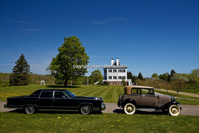 Lincoln Town Car and Model A Ford at the Knox Mansion during Spring Auto Tour, Thomaston, Maine, USA