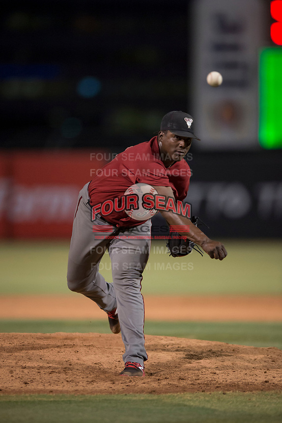 AZL Diamondbacks relief pitcher Juan Araujo (34) follows through on his delivery during an Arizona League game against the AZL Angels at Tempe Diablo Stadium on June 27, 2018 in Tempe, Arizona. The AZL Angels defeated the AZL Diamondbacks 5-3. (Zachary Lucy/Four Seam Images)