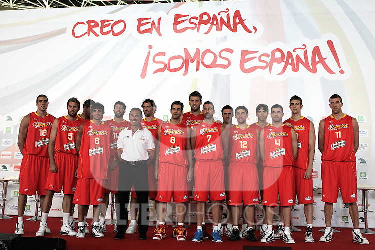 Spain's basket national team players during presentation for world championships. July 21, 2010. (ALTERPHOTOS/Alvaro Hernandez)
