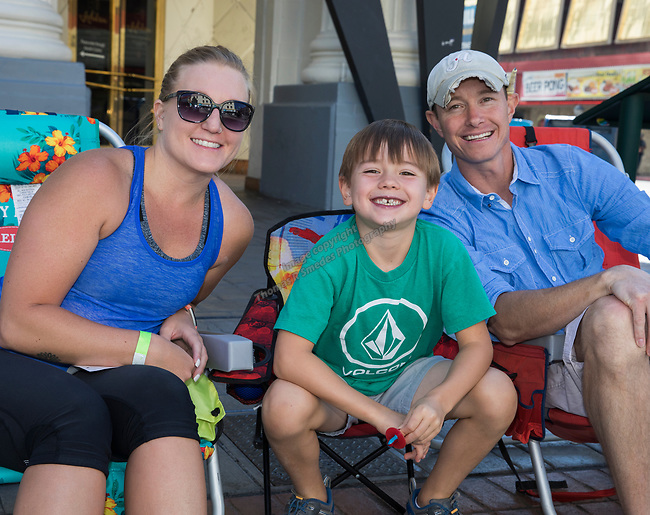 Jennifer, Beckham and Matt from Reno during the Hot August Nights Parade in downtown Reno on Sunday, August 13, 2017.