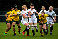 Players chase loose ball during the 2017 International Women's Rugby Series rugby match between England Roses and Australia Wallaroos at Porirua Park in Wellington, New Zealand on Friday, 9 June 2017. Photo: Dave Lintott / lintottphoto.co.nz