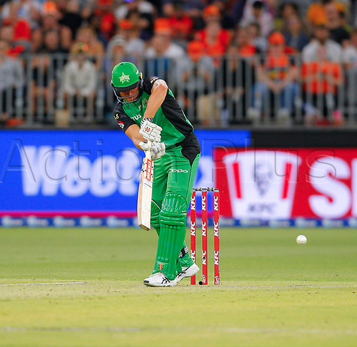 3rd February 2019, Optus Stadium, Perth, Australia; Australian Big Bash Cricket League, Perth Scorchers versus Melbourne Stars; Marcus Stoinis of the Melbourne Stars plays to the leg side during his innings