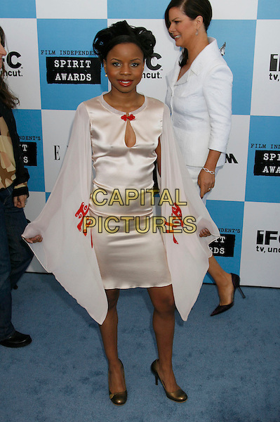 SHAREEKA EPPS .The 2007 Independent Spirit Awards held at the Santa Monica Pier, Santa Monica, California, USA..February 24th, 2007.full length white satin dress sheer.CAP/ADM/RE.©Russ Elliot/AdMedia/Capital Pictures