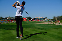 Sebastian Heisele (GER) on the 9th tee during the 2nd round of the Abu Dhabi HSBC Championship, Abu Dhabi Golf Club, Abu Dhabi,  United Arab Emirates. 17/01/2020<br /> Picture: Fran Caffrey   Golffile<br /> <br /> <br /> All photo usage must carry mandatory copyright credit (© Golffile   Fran Caffrey)