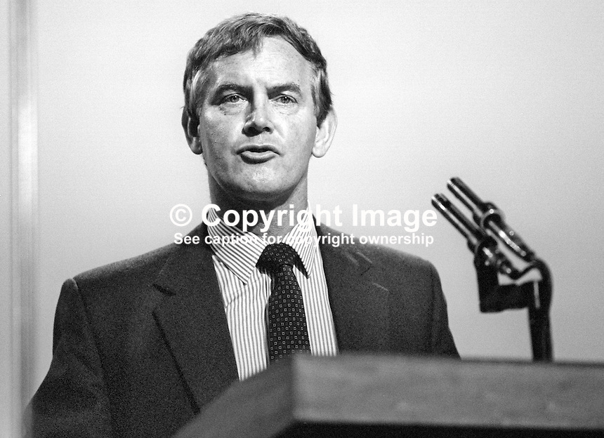 John Moore, MP, Secretary of State for Transport, Conservative Party, UK, speaking at annual conference, September, 1986. 19861011JM1<br />