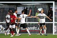 Robert Atkinson (far right) celebrates scoring Fulham U23's second goal with Mattias Kait during Fulham Under-23 vs Manchester United Under-23, Premier League 2 Football at Motspur Park on 10th August 2018