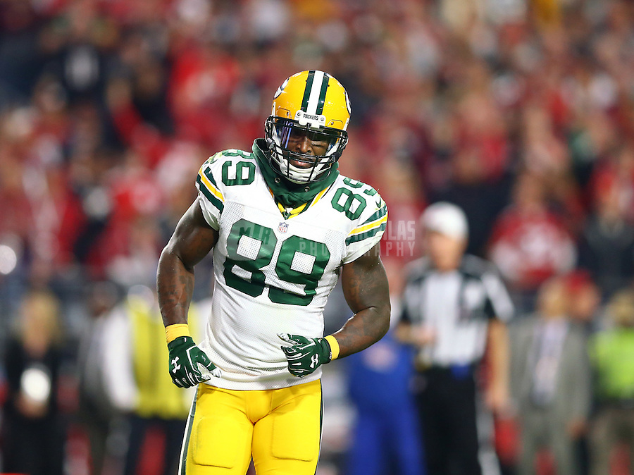 Dec 27, 2015; Glendale, AZ, USA; Green Bay Packers wide receiver James Jones (89) against the Arizona Cardinals at University of Phoenix Stadium. The Cardinals defeated the Packers 38-8. Mandatory Credit: Mark J. Rebilas-USA TODAY Sports