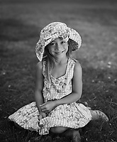 Cute Girl Wearing Sun Hat & Dress, Kapiolani Park, Honolulu, Hawaii, USA.