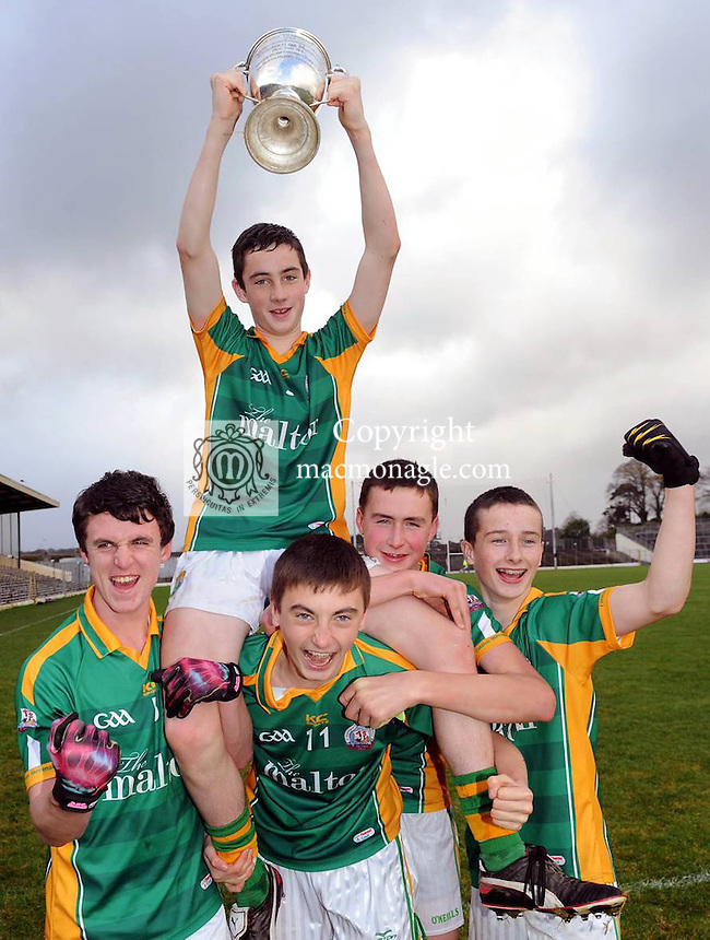 XXjob 21/11/2012* (SPORT) St. Brendans Killarney  captain Daniel O'Brien celebrates with teammates Paudie O'Connor, David Shaw, David Gleeson and Chris O'Donoghue  after defeating Tralee CBS in the Munster Colleges Moran Cup Final  in Fitzgerald Stadium, Killarney  on Wednesday.  Picture: Eamonn Keogh ( MacMonagle, Killarney)