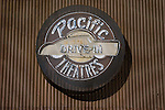 Old Pacific Drive-In Theaters logo sign on the Pan Pacfic Theater in Los Angeles