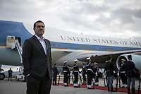 Pictured: Greek Prime Minister Alexis Tsipras waits to greed goodbye to US President Barack Obama at Eleftherios Venizelos Airport in Athens, Greece. Wednesday 16 November 2016<br /> Re: US President Barack Obama state visit to Greece