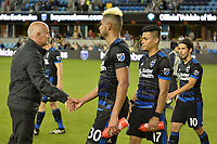 San Jose, CA - Saturday June 24, 2017: Dominic Kinnear, Anibal Godoy, Darwin Ceren during a Major League Soccer (MLS) match between the San Jose Earthquakes and Real Salt Lake at Avaya Stadium.