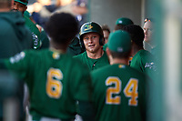 Beloit Snappers Nick Osborne (21) is congratulated by teammates after hitting a home run during a Midwest League game against the Lansing Lugnuts at Cooley Law School Stadium on May 4, 2019 in Lansing, Michigan. Beloit defeated Lansing 2-1. (Zachary Lucy/Four Seam Images)