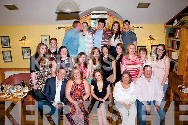 Katie O'Sullivan,Blennerville(seated centre)had a fab time celebrating her 18th birthday last Saturday night in Stokers Lodge,Tralee along with many friends and family.