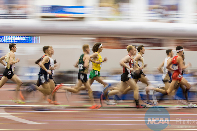 COLLEGE STATION, TX - MARCH 11: The men's 3000 meter run during the Division I Men's and Women's Indoor Track & Field Championship held at the Gilliam Indoor Track Stadium on the Texas A&M University campus on March 11, 2017 in College Station, Texas. (Photo by Michael Starghill/NCAA Photos/NCAA Photos via Getty Images)