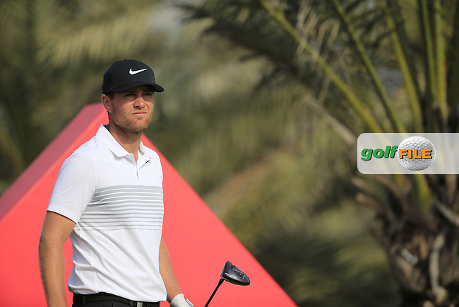 Lucas Bjerregaard (DEN) on the 14th during the 1st round of the Abu Dhabi HSBC Championship, Abu Dhabi Golf Club, Abu Dhabi,  United Arab Emirates. 19/01/2017<br /> Picture: Golffile | Fran Caffrey<br /> <br /> <br /> All photo usage must carry mandatory copyright credit (&copy; Golffile | Fran Caffrey)