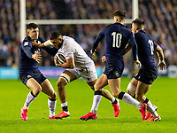 8th February 2020; Murrayfield Sadium, Edinburgh, Scotland; International Six Nations Rugby, Scotland versus England; Lewis Ludlam of England breaks through the Scottish defence as Adam Hastings moves in to tackle