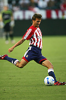Chivas USA midfielder Jessie Marsch (15) passes a ball. CD Chivas USA beat Real Salt Lake 1-0 in a MLS game at the Home Depot Center in Carson, California, Sunday, August 26, 2007.