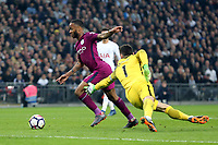 Raheem Sterling of Manchester City goes past /Hugo Lloris of Tottenham  during Tottenham Hotspur vs Manchester City, Premier League Football at Wembley Stadium on 14th April 2018