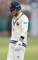 Sean Dickson of Kent trudges off after being bowled during the friendly game between Kent CCC and Oxford University at the St Lawrence Ground, Canterbury, on Sun Apr 1, 2018