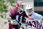 Los Angeles, CA 03/20/10 - Alex Demmeno (LMU # 11) and John Solomon (Arizona # 43) in action during the Arizona-Loyola Marymount University MCLA game at Leavey Field (LMU).  LMU defeated Arizona 13-6.