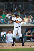 Diego Rincones (16) of the Augusta GreenJackets at bat against the Kannapolis Intimidators at SRG Park on July 6, 2019 in North Augusta, South Carolina. The Intimidators defeated the GreenJackets 9-5. (Brian Westerholt/Four Seam Images)