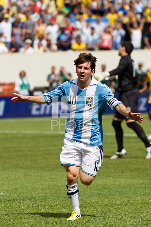 Lionel Messi (10) of Argentina (ARG) celebrates scoring his second goal of the game. Argentina defeated Brazil 4-3 in an international friendly at MetLife Stadium in East Rutherford, NJ, on June 9, 2012.