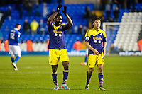 Saturday 25 January 2014<br /> Pictured: ( L-R ) Wilfried Bony and Neil Taylor applaud the fans after the game <br /> Re: Birmingham City v Swansea City FA Cup fourth round match at St. Andrew's Birimingham