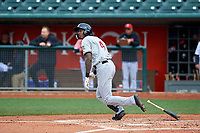 Wisconsin Timber Rattlers right fielder Je'Von Ward (4) during a Midwest League game against the Lansing Lugnuts at Cooley Law School Stadium on May 1, 2019 in Lansing, Michigan. Wisconsin defeated Lansing 8-3 after the game was suspended from the previous night. (Zachary Lucy/Four Seam Images)